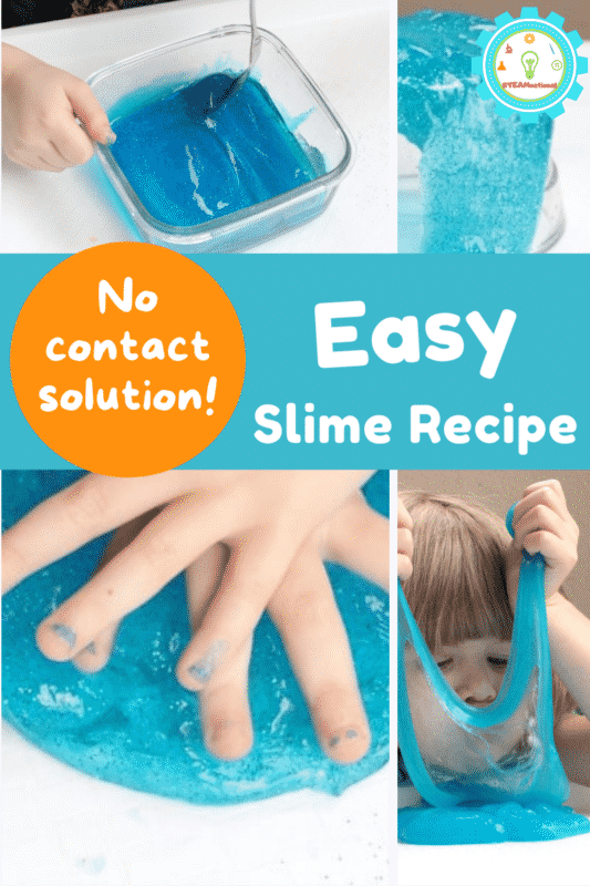 The best slime recipe without contact solution. Just 3 ingredients and less sticky than other slime recipes! Get stretchy slime in 5 minutes!