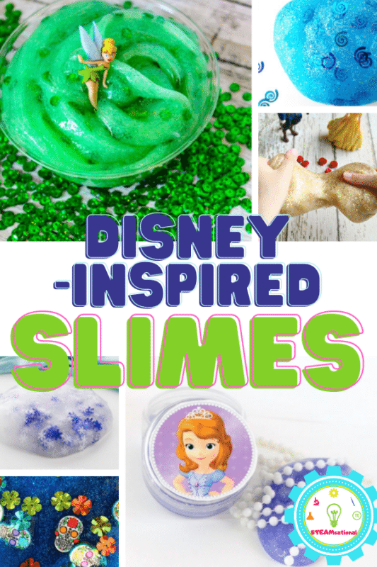 Disney slime is a fun interactive messy play idea that can be as fun and messy as you want, or an easy clean-up activity that teaches your kids a little bit of science in the midst of all that gooey fun. We have a lot of slime recipes, and these are all Disney-inspired slime!!