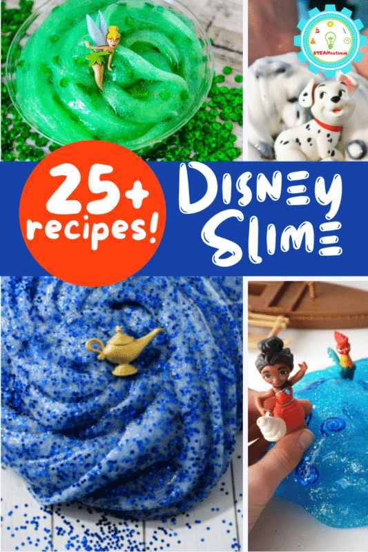 Disney and slime now collide with Disney slime! 35+ easy Disney inspired slime recipes that kids will love making and playing with!