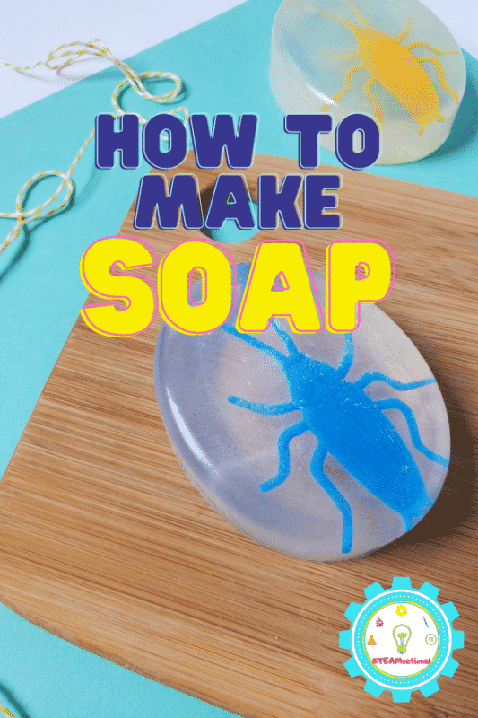 This soap making science project is the perfect easy science project for elementary kids! Takes just 1 hour and 2 ingredients! Learn how to make soap with kids!