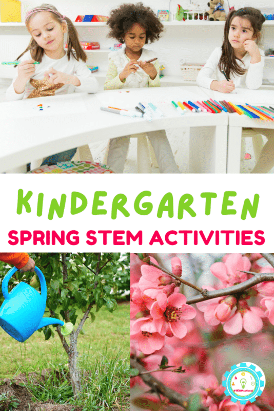Celebrate spring with these kindergarten spring STEM activities! Easy STEM activities for weather, plants, life cycles, and more!