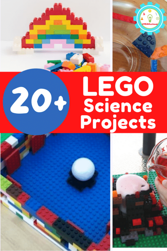 20 fun science experiments with LEGOs kids will love! Must-try simple LEGO science projects covering chemistry, physics, biology, and more!