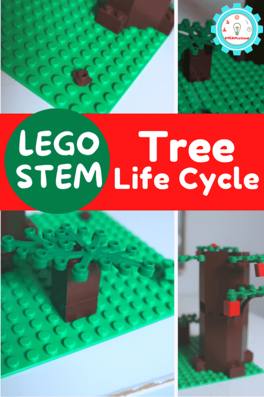 An Earth Day LEGO challenge making a LEGO tree life cycle is the perfect activity to go along with any Earth Day lesson!