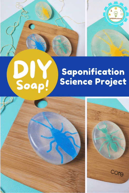 This soap making science project is the perfect easy science project for elementary kids! Takes just 1 hour and 2 ingredients!