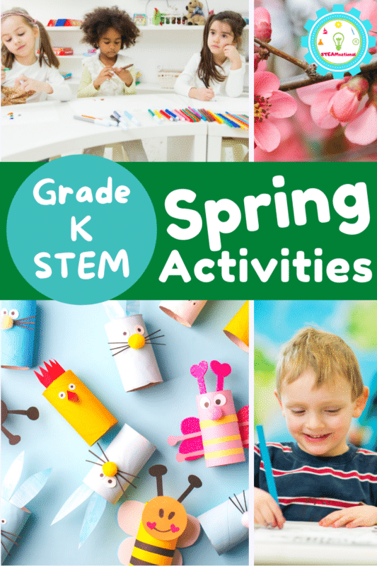 Celebrate spring with these spring STEM activities for kindergarten! Easy STEM activities for weather, plants, life cycles, and more!