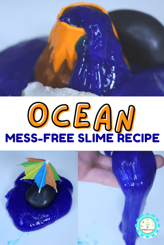 Learn how to make an ocean slime recipe without borax right here! Just 3 ingredients and you'll be swimming in island life in minutes!
