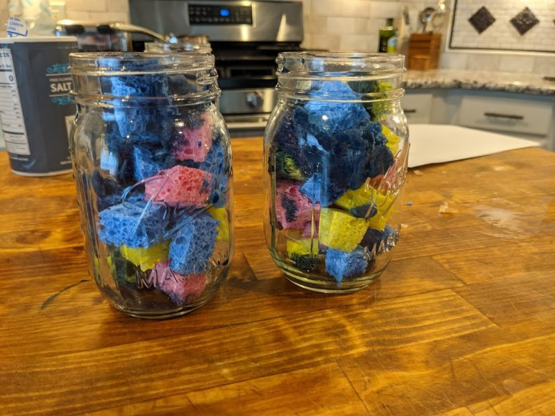 bluing crystal solution in a jar