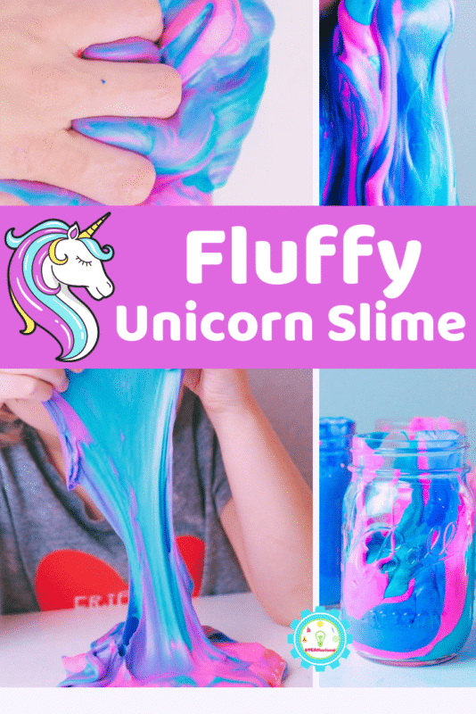 Learn how to make fluffy unicorn slime! It's so easy and takes just 3 ingredients! This low-mess slime is perfect for unicorn lovers!