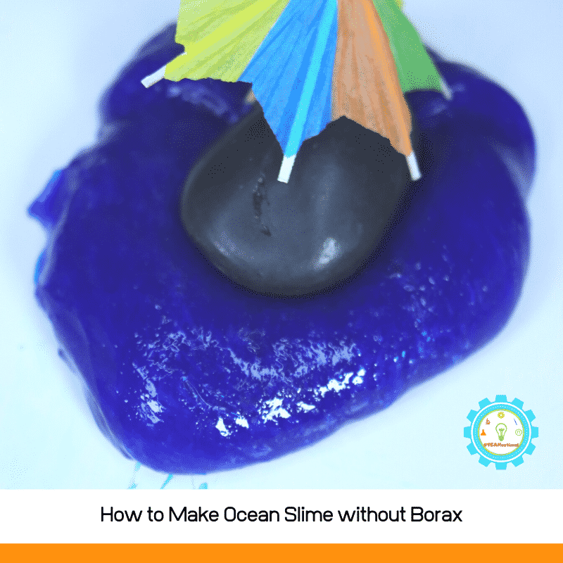 how to make ocean slime without borax. This easy slime recipe has 3 ingredients and is very low mess!