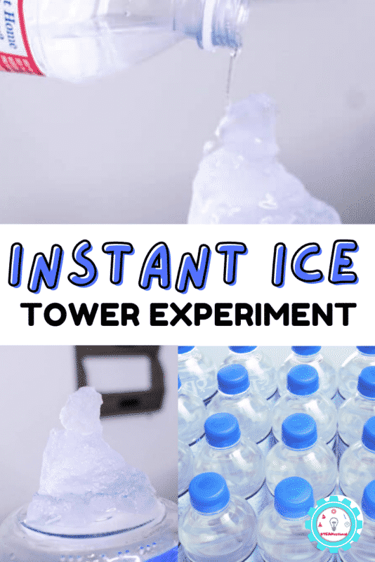 The instant ice tower works with the domino effect of science- nucleation! Learn how to make your own super cool ice tower with this fun science experiment.
