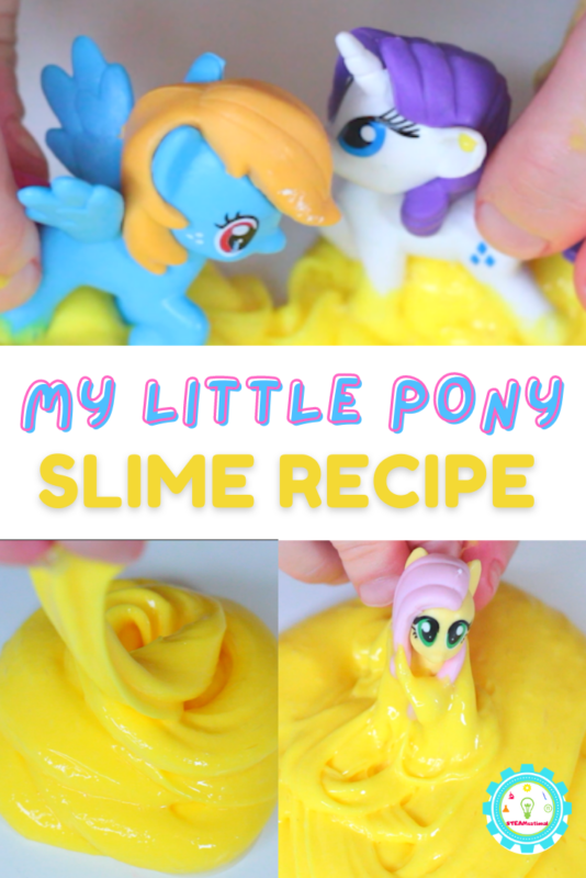 You can absolutely make My Little Pony slime! Follow along with these directions to make this super simple slime recipe that is easy to make, won't dye your hands, and is tons of fun to play with!