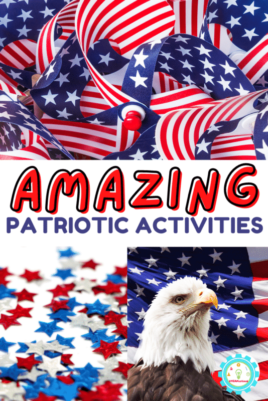 This guide shares 20 or more Fun Patriotic Activities For Kids! Patriotic games, patriotic art, patriotic STEM, patriotic crafts, and much more!