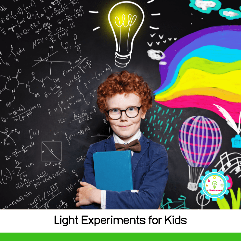 11+ really cool light experiments for kids! Learn about where light comes from, how light travels, ways light can bend, and more!
