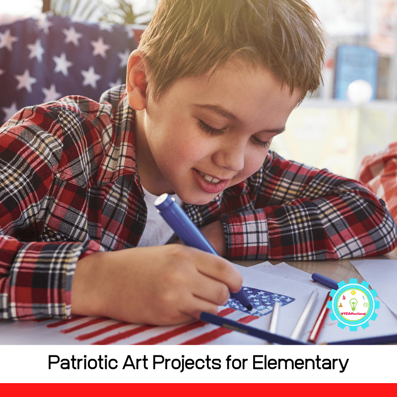 11+ patriotic art projects for elementary students! Easy art themes including paper crafts, painting, process art, and more!