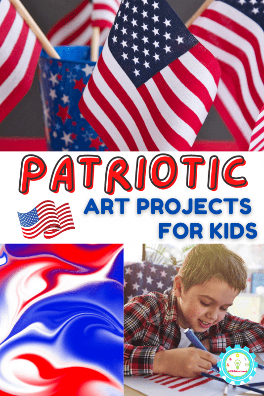 If your elementary students love art, they will love these patriotic art projects for elementary students! All of these activities are designed with elementary kids in mind.