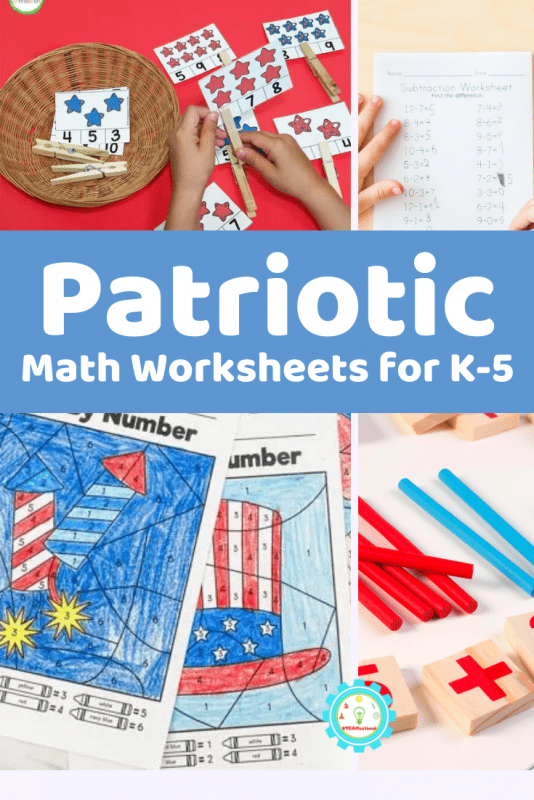 Wave hello at patriotic activities for kids! With  these patriotic math worksheets, we are all in on the red-white, and blue!