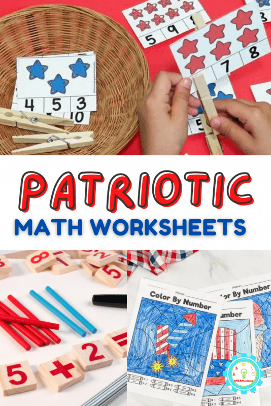 Here you'll find some super fun patriotic math printables that you can use at home to boost math skills, in summer school classes, or in summer childcare programs.