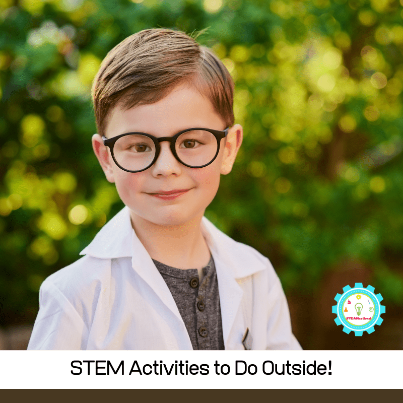 These STEM activities can all be done outdoors! Check out our list of outside STEM activities for cold weather, and our list of outdoor STEM activities for warm weather!