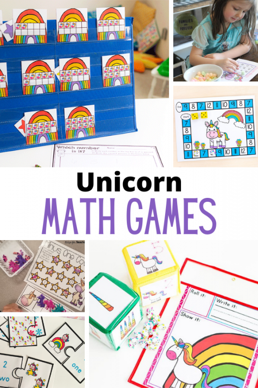 Over 20 printable unicorn math games for early learners! Perfect for the classroom or at-home practice. Kids will love learing with a unicorn theme.