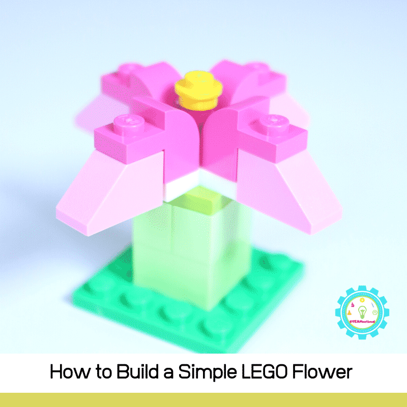 Make a simple LEGO flower! Step by step directions and a LEGO flower video make it easy!