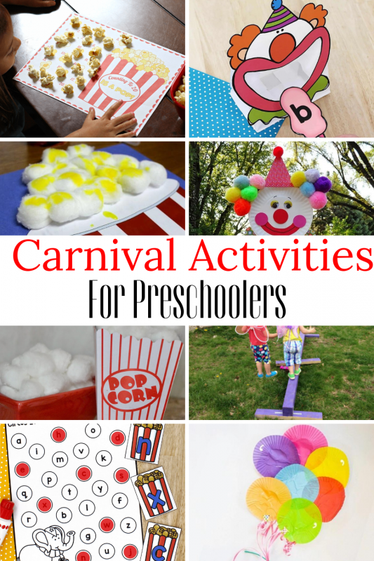 Here are some super-fun carnival activities for early learners! Use in the classroom or at home just for fun!