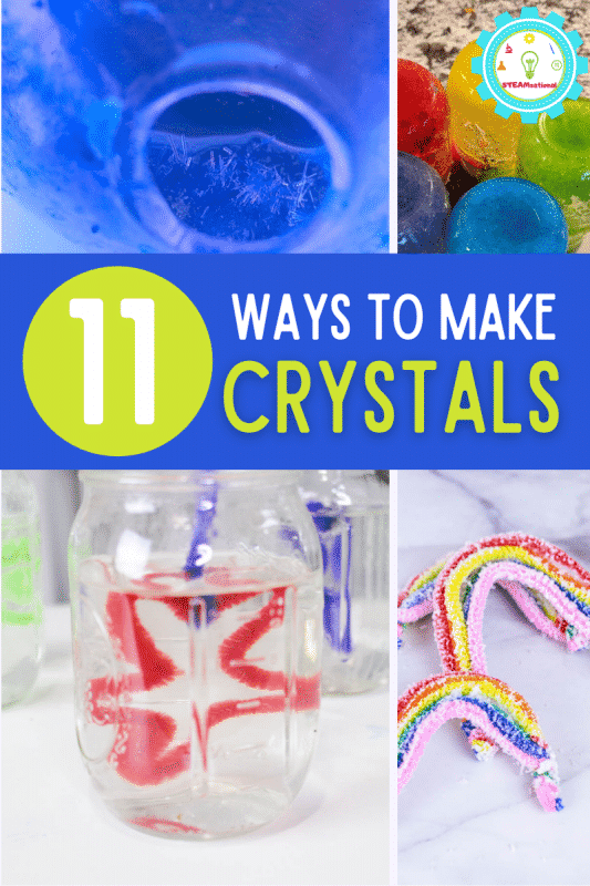 11 crystal experiments that teach kids about crystal science! Crystal science experiments to make borax, sugar, salt crystals, and more!