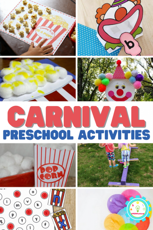 These preschool carnival activities work great for at-home carnival fun or as part of a carnival unit or carnival STEM activities in your classroom!