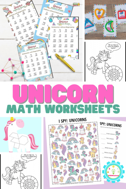 From learning addition to shapes and matching, these unicorn math worksheets can be used to teach math concepts to your little ones.