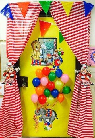 balloon circus classroom door