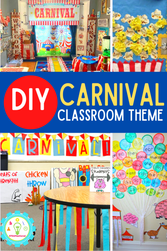 Exciting carnival classroom theme that will get kids excited to learn! Carnival classroom door ideas and carnival door decorations that will inspire!