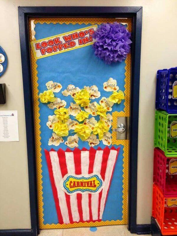 carnival classroom door popcorn