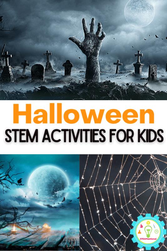 er 100 Halloween STEM activities for kids below! First find Halloween sensory ideas, Halloween fine motor activities, and Halloween shadow puppets.  Then find Halloween STEM challenges for every age from toddler through 8th grade!