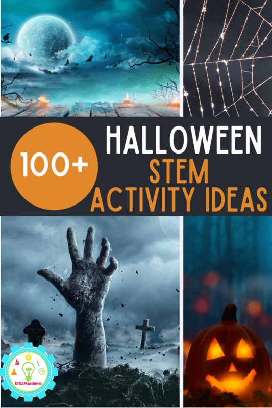 Over 100  fun, gross and not-too-spooky Halloween STEM activities for kids! Easy STEM projects for every age from toddler through middle school!