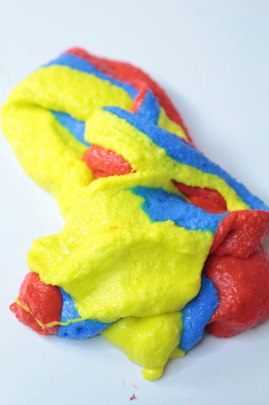 red, yellow, and blue fluffy slime