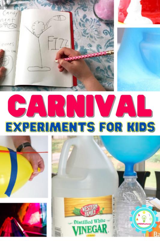 The carnival is a magical place where lights, action, rides, and junk food collide. Who wouldn't love that? These science experiments and activities all capture that unique fun feeling that a carnival gives to kids.