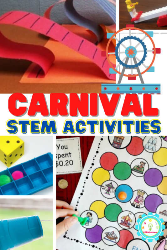 20+ carnival themed STEM activities fun for the classroom or to do at home! From cotton candy to fried food, carnival STEM activities are a blast!