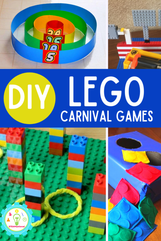 Build your own carnival games! These LEGO carnival games show kids the engineering behind classic carnival games. Fun engineering for kids!