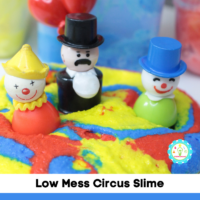 Follow this easy recipe to learn how to make fluffy circus slime! So easy and tons of fun!