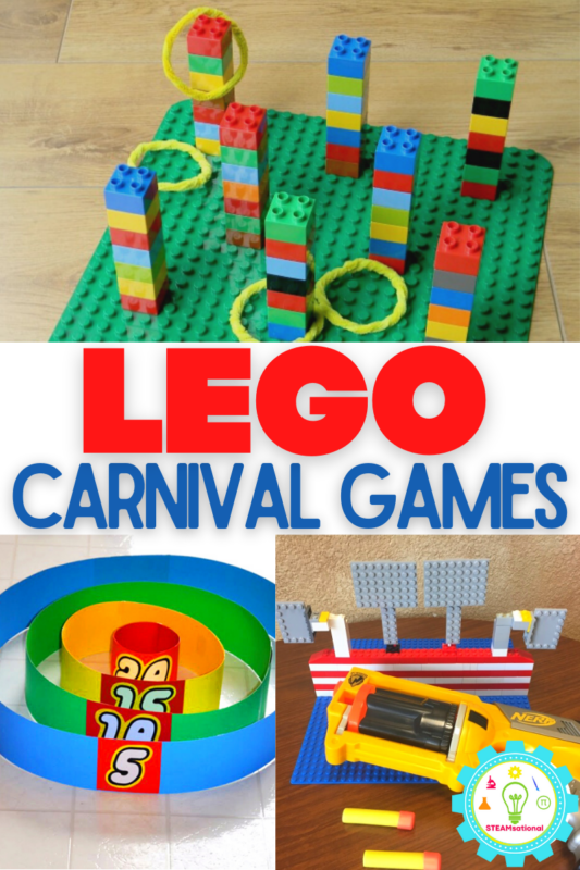 Follow along with the step-by step building directions below to learn how to make your own LEGO carnival games!