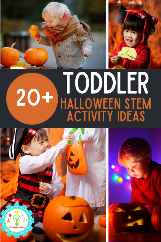 Over 20 exciting and hands-on Halloween STEM activities for toddlers, all with a fun STEM twist! Engaging and fun themes from bugs to ghosts!